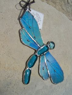 Iridescent Blue Dragonfly Stained Glass Suncatcher by henrystreet