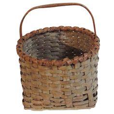 1stdibs | Fantastic 19thc Taupe Painted Basket w/ Camel Trim
