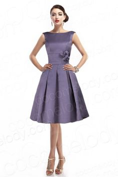Fancy A-Line Bateau Natural Knee Length Satin Light Purple Sleeveless Zipper Mother of The Bride Dress with Pleating and Flower COZK1402D #cocomelody