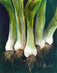 "Daily Paintworks - ""10x8 Green Onions All in a Row Leeks Scallions Food Art SFA Small Fine Art Penny StewArt"" - Original Fine Art for Sale - © Penny Lee StewArt"