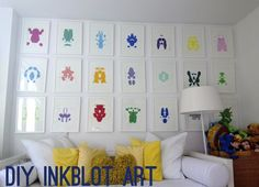 DIY Inspiration: Rorschach Ink Blot Art Wall from Sketch 42 here.There are good tips for making these colorful prints if you don't want to have a fold down the middle of your artwork.  I loveRorschach Ink Blot Inspired DIYs and have posted a roundup of tutorial here:http://truebluemeandyou.tumblr.com/tagged/rorschach