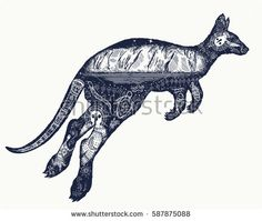 Find Kangaroo Double Exposure Tattoo Art Symbol stock images in HD and millions of other royalty-free stock photos, illustrations and vectors in the Shutterstock collection. Thousands of new, high-quality pictures added every day. Australia Day Aboriginal, Aboriginal Tattoo, Aboriginal Art Australian, Australia Tattoo, Ouroboros Tattoo, Tattoo T Shirts, Tattoo Project, Tatoo Art, Wedding Tattoos