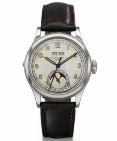 Patek Philippe - Model 1591  $2,263,964   --- In 1996 Patek Philippe Model 1591 was firstly offered at auction and won the place of the most expensive stainless steel wristwatch model ever sold at auction. Until this time the model was not known publicly. Although, it was made in 40-th. Patek Philippe Model 1591 is said to belong to a maharajah who wore it when playing polo. Then it became a present to a maharajah's wedding organizer.