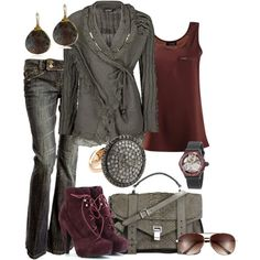 Maroon and gray outfit. Cute sweater. Perfect for cooler weather.