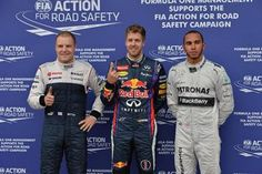 (L to R): Valtteri Bottas (FIN) Williams F1, pole sitter Sebastian Vettel (GER) Red Bull Racing and Lewis Hamilton (GBR) Mercedes AMG F1 celebrate in parc ferme. Formula One World Championship, Rd7, Canadian Grand Prix, Qualifying, Montreal, Canada, Saturday, 8 June 2013