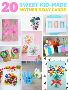 20 Sweet Kid-Made Mother's Day Cards. Cute and easy Mother's day crafts for kids.