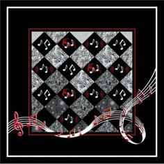 """Jennifers Music Quilt. Music themed fabrics make up 12"""" square blocks set on point. Could use a layer cake. Dancing notes and music symbols appliqued in alternating squares. The swooping music line is bias tape, or it could be embroidered with a tight twist crochet thread. Very nice."""