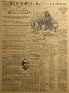 Titanic Newspaper Article: The Vancouver Daily Province