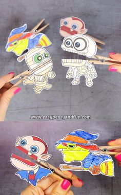 Your classroom (or home) Halloween party is going to be a huge hit with these printable Halloween clothespin puppets. videos for kids creative Halloween Clothespin Puppets Halloween Arts And Crafts, Halloween Decorations For Kids, Halloween Crafts For Toddlers, Halloween Tags, Halloween Activities, Toddler Crafts, Group Halloween, Diy Kids Crafts, Craft Ideas