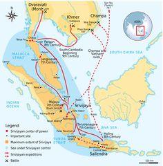Srivijaya Empire (405-1025): Extent, Conquests & Raids by Kartapranata #map #malaysia #indonesia