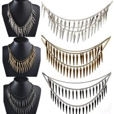 New Luxury Fashion Party Vintage Rock Punk Spike Rivets Fringe Necklace Chain | eBay
