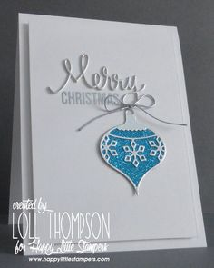 Sparkly Christmas Ornament Card, Turquoise Blue Glitter and Snowflake. Link leads to tutorial. -ce
