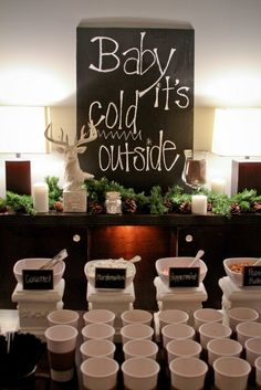 Could keep the cups as favors - Or a hot chocolate bar. | 42 Lovely Ideas For A Cold-Weather Wedding