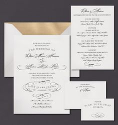 Our Calligraphic Flourish invitation suite is shown here thermograph printed in midnight ink.