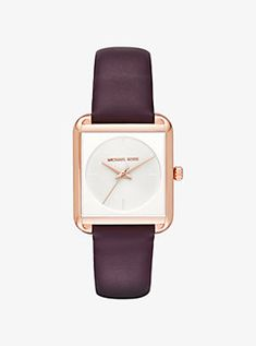 lake rose gold tone and leather watch by michael kors
