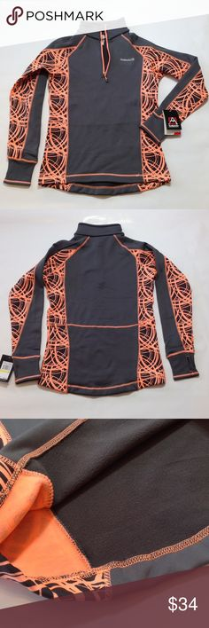 """Avalanche Mogul pullover Next to skin fit. Breathable, provides unrestrictive movement & agility. Fast wicking & naturally regulates body temp. Charcoal and bright coral orange. Sleeves with thumb holes 29"""" from neckline, 26"""" length, 19"""" bust. 95% poly/5% spandex. Avalanche Jackets & Coats"""