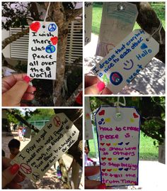 International Day of Peace Idea- hang tags with messages of peace in trees…