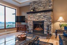 Custom Fireplace With Summit Uintah Ledgestone - Traditional - Family Room - Other Metro - Harristone Stone Veneer