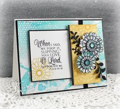 Handmade card by Julee Tilman using the Psalm 94:18 plain jane and Button Best set from Verve.  #vervestamps