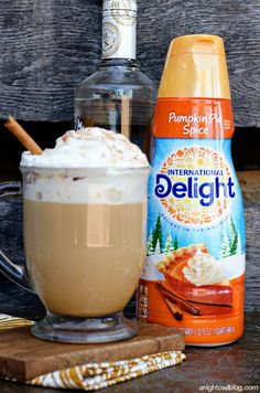 ~Spiked Pumpkin Spice Latte ~  Brew up a strong cup of your favorite coffee, espresso blends work great! Add in about 2 ounces of International Delight Pumpkin Pie Spice creamer & 1 1/2 oz of whipped cream flavored vodka.  And if this isn't enough, whip up some pumpkin pie spice whipped cream. Beat together whipping cream, powdered sugar & Pumpkin Pie Spice creamer.