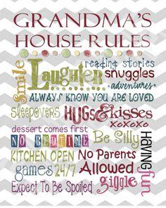 Grandma's House rules Printable Subway art by KamisDigitalCreation