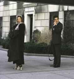 JFK Jr. and Carolyn Bessette Kennedy - not so sure about the dark stockings and white sandals. I don't think even CBK carried this off.