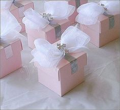 Girl's Pink Baptism, Communion Silver Cross And Bow Favor Box, Candy Holder on Etsy, 84,09€