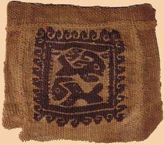 "Antique Coptic Textile. Egyption Coptic. Tunic border textile fragment. 300-200 A.D.   Size 4"" x 4"" Size 10 x 10cm  From: H.Kevorkian..."