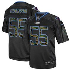 Zach Brown Men's Elite Black Jersey: Nike NFL Tennessee Titans Camo Fashion #55
