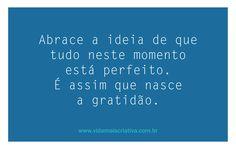 Abrace a ideia de que tudo neste momento está perfeito. É assim que nasce a gratidão.