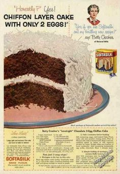 Softsilk and Betty Crocker - Chiffon Layer Cake with Only 2 Eggs! Retro Recipes, Old Recipes, Vintage Recipes, Cake Recipes, Dessert Recipes, 1950s Recipes, Cook Desserts, Family Recipes, Vintage Sweets