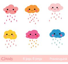 Raindrop clouds clipart, Cute clouds clipart, Colorful cloud clip art, Weather clipart, Kawaii Rain cloud, Baby shower, Cloudy weather icons by Pravokrugulnik on Etsy https://www.etsy.com/listing/293927767/raindrop-clouds-clipart-cute-clouds