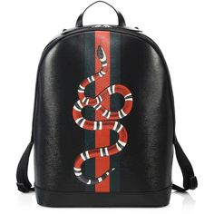 35e981e11a Roomy backpack with iconic web and snake prints Single top handle  Adjustable shoulder straps Top zip closure Palladium-toned hardware Inside  cell phone ...