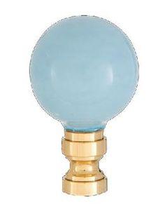 Smooth Ceramic Design, Light Blue Ball Finial, Solid Brass Brass Base