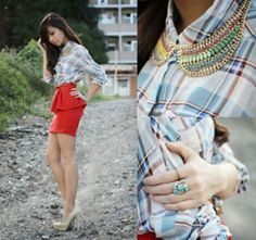 Check shirt + red skirt