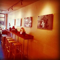 Henri Hadida photos at Red Bird Cafe montreal. Home Art, Original Art, The Originals, Hospitality, Montreal, Wood, Table, Promotion, Retail