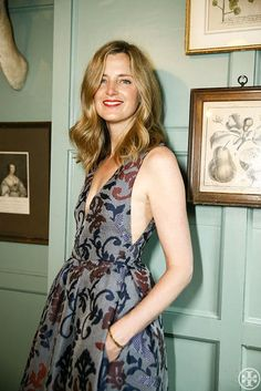 Author Amanda Brooks wearing the Tory Burch Dotted Cloque gown | Photo Credit: Tory Daily, Noa Griffel