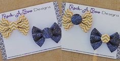 Interchangeable Gold Chevron and Navy Gold by RockABowDesigns