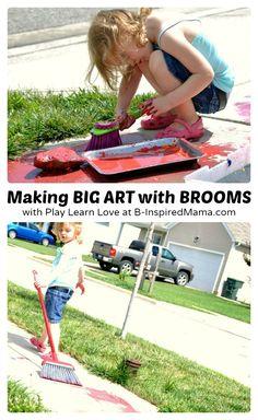 Making Messy Big Art with Broom Painting at B-Inspired Mama