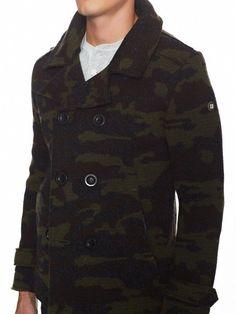 NWT SLATE & STONE Great Jones Camo Camouflage Wool Knit Sweater Peacoat XXL $495 #SlateStone #Peacoat
