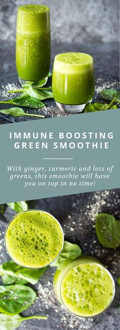 Get your immune system in top shape with this green smoothie that's packed with ginger, turmeric and citrus!