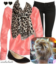 Cute! Love the leopard scarf with the pink. Only need the sweater!