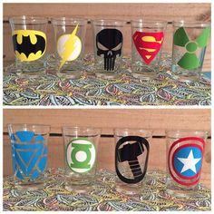 Superhero shot glass, superhero shot glasses, Batman, superhero, batman shot glass, superhero shot glass, boy shot glass, Monogrammed Shot Listing