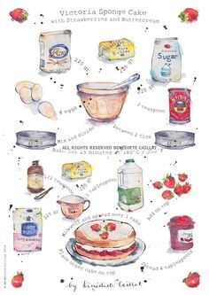 Items similar to Art Print - Kitchen Art - Victoria Sponge Cake Recipe - Illustration - from Original Ink and Watercolour Illustration on Etsy Victoria Sponge Kuchen, Recipe Drawing, Sponge Cake Recipes, Fudge Recipes, Strawberry Cakes, Food Drawing, Drawing Art, Food Journal, Kitchen Art