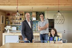 Grand Designs presenter Kevin McCloud (left) was very impressed with the family home designed by architect Micah Jones, pictured here with wife, Elaine.