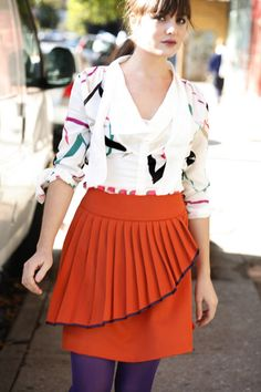 a cute skirt and the top could be made un-pleated for the asymetrical peplum effect in trend right now...