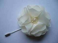 Ivory flower. White flower.Grooms boutonniere. by InColours, $8.00