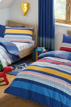 Buy 2 Pack Multi Stripe Print Bed Set from the Next UK online shop