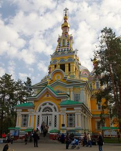 Almaty's Ascention Cathedral    The wooden Ascension Cathedral (Восхождение собор) in Almaty was built in 1870 and is one of the very few buildings to have survived the multiple great earthquakes that have struck Almaty since that time.