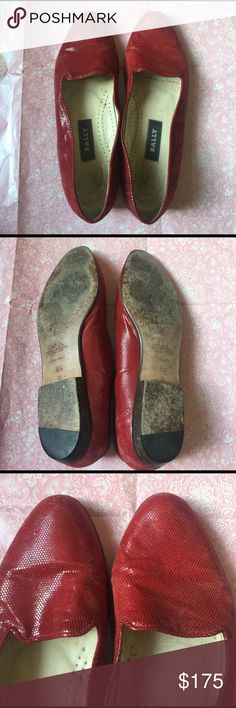 Vintage Bally Switzerland Red Loafers These have been worn a lot but but still have TONS of life in them!! Designer shoes. Retail for $750. Open to offers. Size 6 1/2. Classy. Ballet flats. High end. Elegant. Work appropriate. Sophisticated. AMAZING! Vintage. Rare. Bally Shoes Flats & Loafers